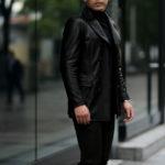 cuervo bopoha (クエルボ ヴァローナ) Satisfaction Leather Collection (サティスファクション レザー コレクション) Vincent (ヴィンセント) BUFFALO LEATHER (バッファロー レザー) レザー Pコート BLACK (ブラック) MADE IN JAPAN (日本製) 2020秋冬 【入荷しました】のイメージ