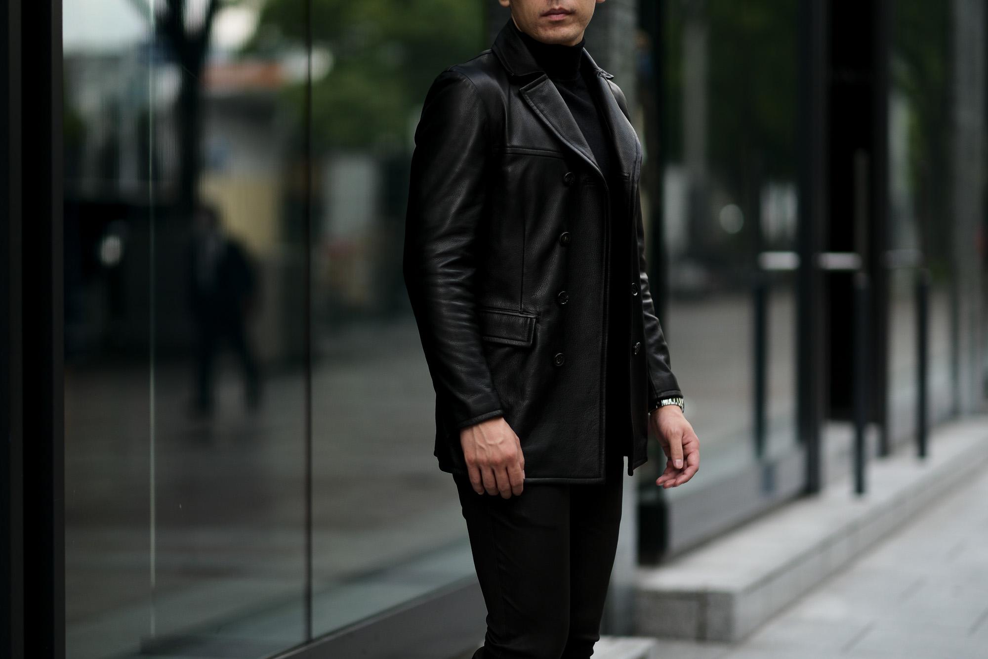 cuervo bopoha (クエルボ ヴァローナ) Satisfaction Leather Collection (サティスファクション レザー コレクション) Vincent (ヴィンセント) BUFFALO LEATHER (バッファロー レザー) レザー Pコート BLACK (ブラック) MADE IN JAPAN (日本製) 2020秋冬 【入荷しました】【SOLD OUT】愛知 名古屋 Alto e Diritto altoediritto アルトエデリット