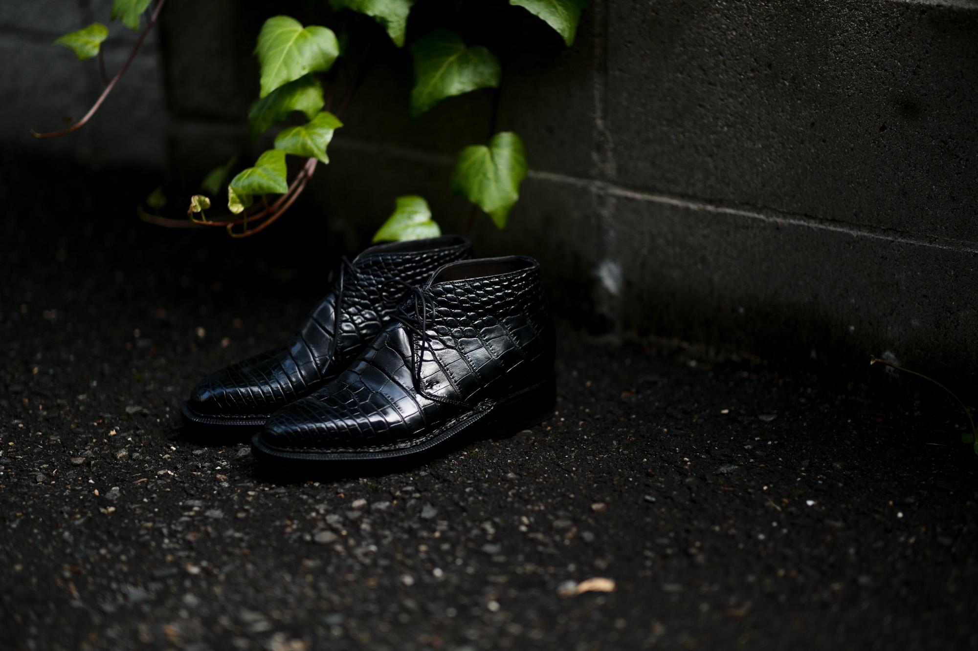 ENZO BONAFE (エンツォボナフェ) ART.3722 Crocodile Chukka boots クロコダイル Mat Crocodile Leather マット クロコダイル エキゾチックレザー チャッカブーツ NERO (ブラック) made in italy (イタリア製) 2020 秋冬 愛知 名古屋 Alto e Diritto altoediritto アルトエデリット 入荷しました