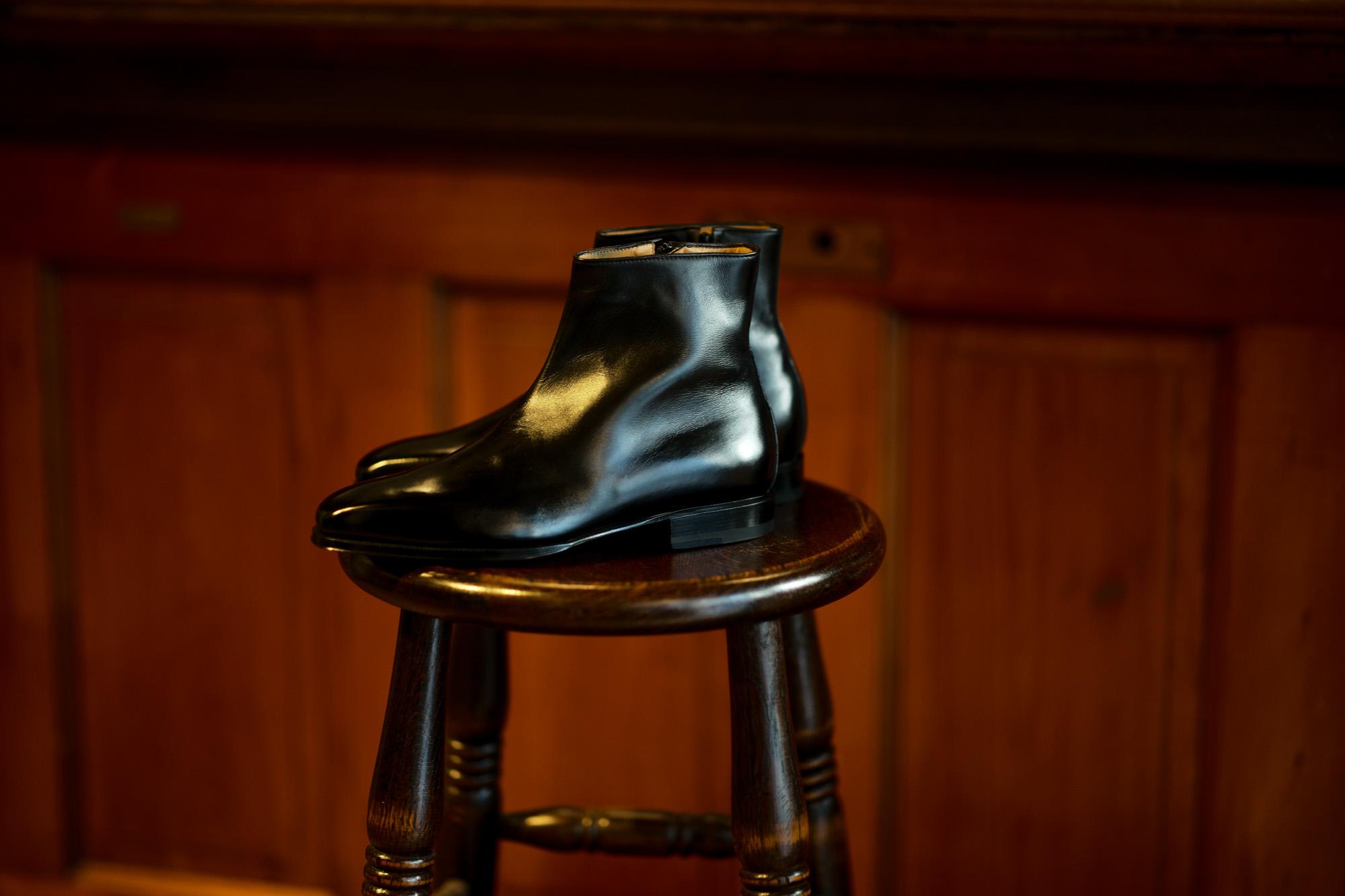 ENZO BONAFE(エンツォボナフェ) ART.3993 Zip up Boots Du Puy Vitello デュプイ社ボックスカーフ ダブルストラップブーツ NERO (ブラック) made in italy (イタリア製) 2020 秋冬新作 【入荷しました】【フリー分発売開始】愛知 名古屋 Alto e Diritto altoediritto アルトエデリット