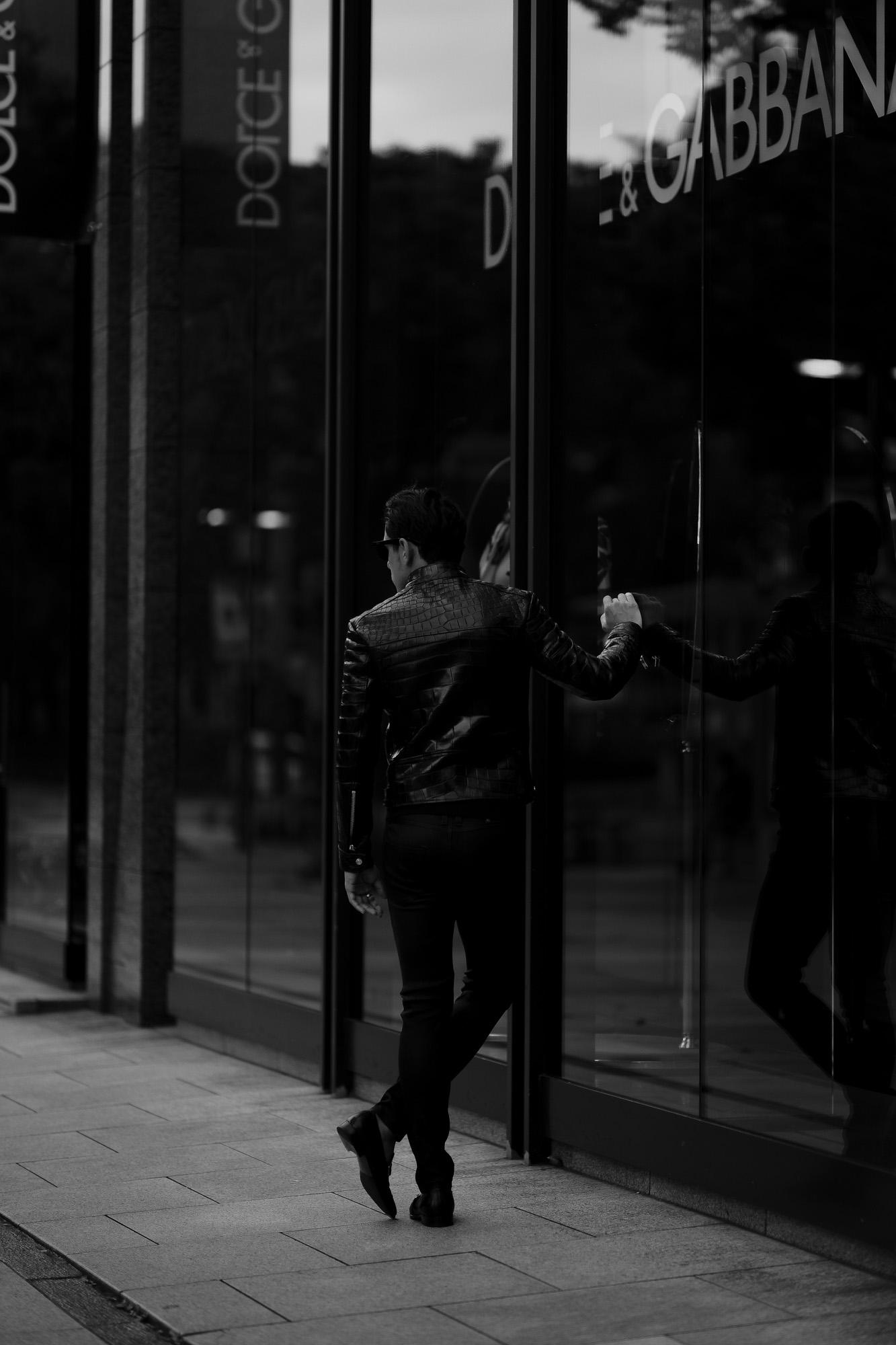 FIXER(フィクサー) F2 CROCODILE(エフツー クロコダイル) SINGLE RIDERS Crocodile クロコダイル エキゾチックレザー シングルライダース ジャケット BLACK(ブラック) 【Special Special Special Model】 愛知 名古屋 Alto e Diritto altoediritto アルトエデリット スペシャルライダース クロコダイルライダース レザージャケット ライダースジャケット
