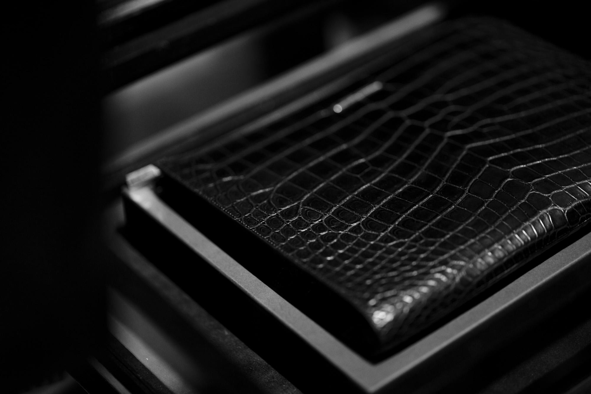 Georges de Patricia (ジョルジュ ド パトリシア) Aventador Crocodile (アヴェンタドール クロコダイル) 925 STERLING SILVER (925 スターリングシルバー) Niloticus Crocodile ニロティカス クロコダイル エキゾチックレザー クラッチ バッグ NOIR (ブラック) 2021 春夏 【Special Model】愛知 名古屋 Alto e Diritto altoediritto アルトエデリット クラッチバック