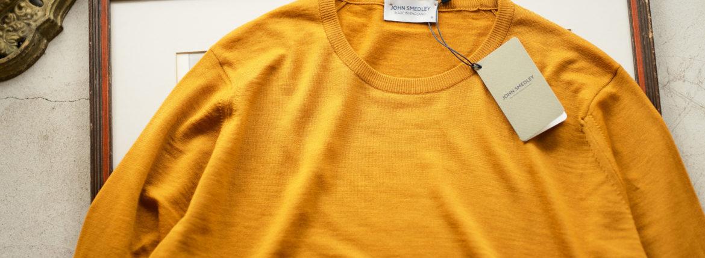 JOHN SMEDLEY (ジョンスメドレー) KERSHAW (カーショー) 30G Merino Wool (30ゲージメリノウール) クルーネックセーター SAFFRON (サフラン) Made in England (イギリス製) 2020 秋冬新作 Alto e Diritto altoediritto アルトエデリット 愛知 名古屋