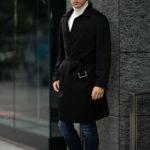 LUCA GRASSIA (ルカ グラシア) Belted coat (ベルテッド コート) カシミアフラノ カシミア バルカラー ベルテッド コート BLACK (ブラック)  Made in italy (イタリア製) 2020 秋冬新作 【Special Model】【Alto e Diritto限定】のイメージ