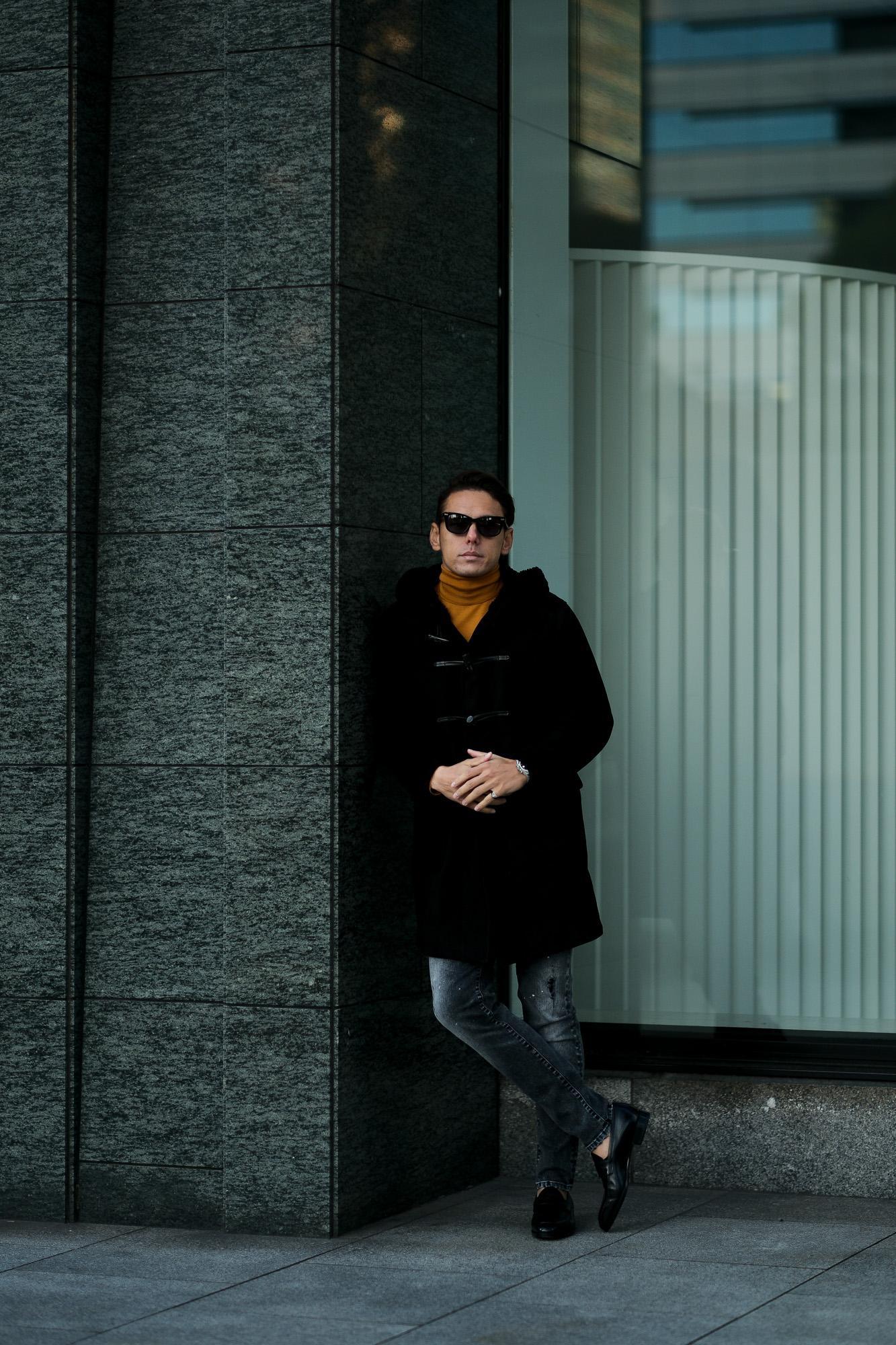 SILENCE(サイレンス) Mouton Duffle Coat D.F.MERINO SPAGNOLO (ミディアムヘアームートン) ムートン ダッフルコート NERO (ブラック) Made in italy (イタリア製) 2020 秋冬 愛知 名古屋 Alto e Diritto アルトエデリット