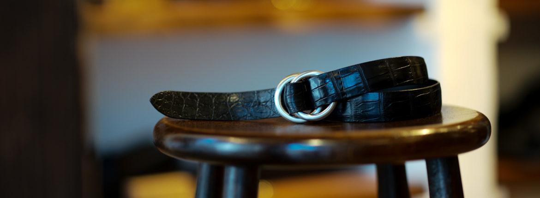 THE SOLE(ザ ソール) Nile Crocodile Leather SUPREME 30MM ナイルクロコダイル ダブルリング ベルト レザーベルト BLACK(ブラック) 【受注会開催 2020.11.07(sat)~2020.11.15(sun)】【SPIRALE // KOTARO SHINDO氏 11/14 ご来店】【ご予約受付中】のイメージ