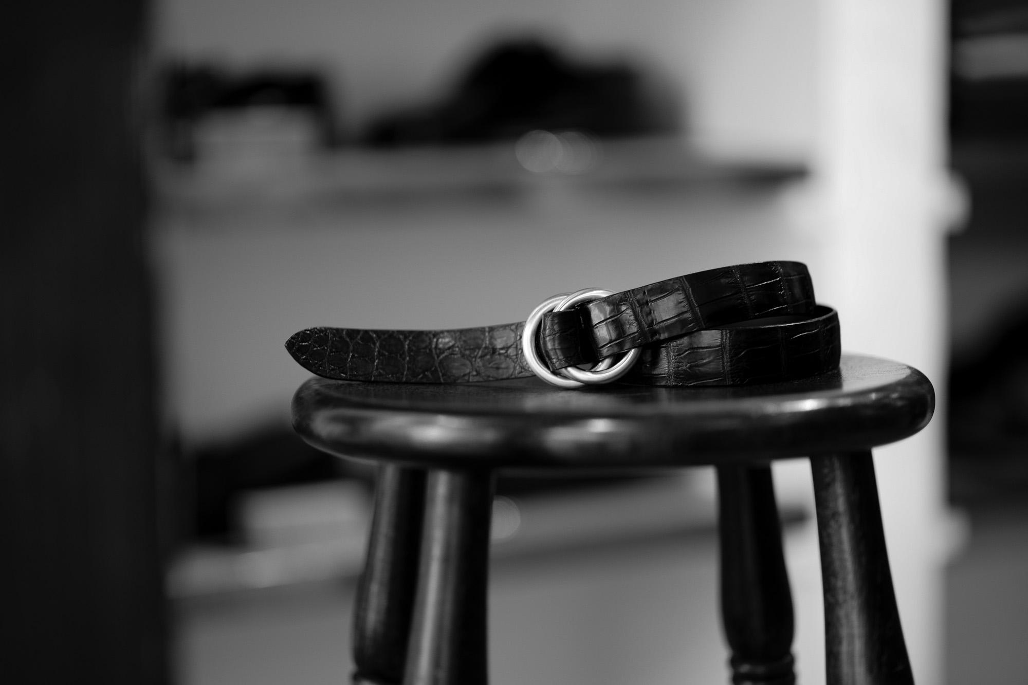 THE SOLE(ザ ソロ) Nile Crocodile Leather SUPREME 30MM ナイルクロコダイル ダブルリング ベルト レザーベルト BLACK(ブラック) 【ご予約受付中】クロコダイル ダブルリングベルト SUPREME 30MM幅 クロコダイル 愛知 名古屋 Alto e Diritto altoediritto アルトエデリット リングベルト MASTER PLAN 神藤 光太郎