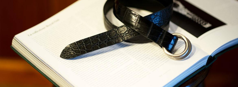 THE SOLE(ザ ソール) Nile Crocodile Leather SUPREME 30MM ナイルクロコダイル ダブルリング ベルト レザーベルト BLACK(ブラック) 【ご予約受付中】のイメージ