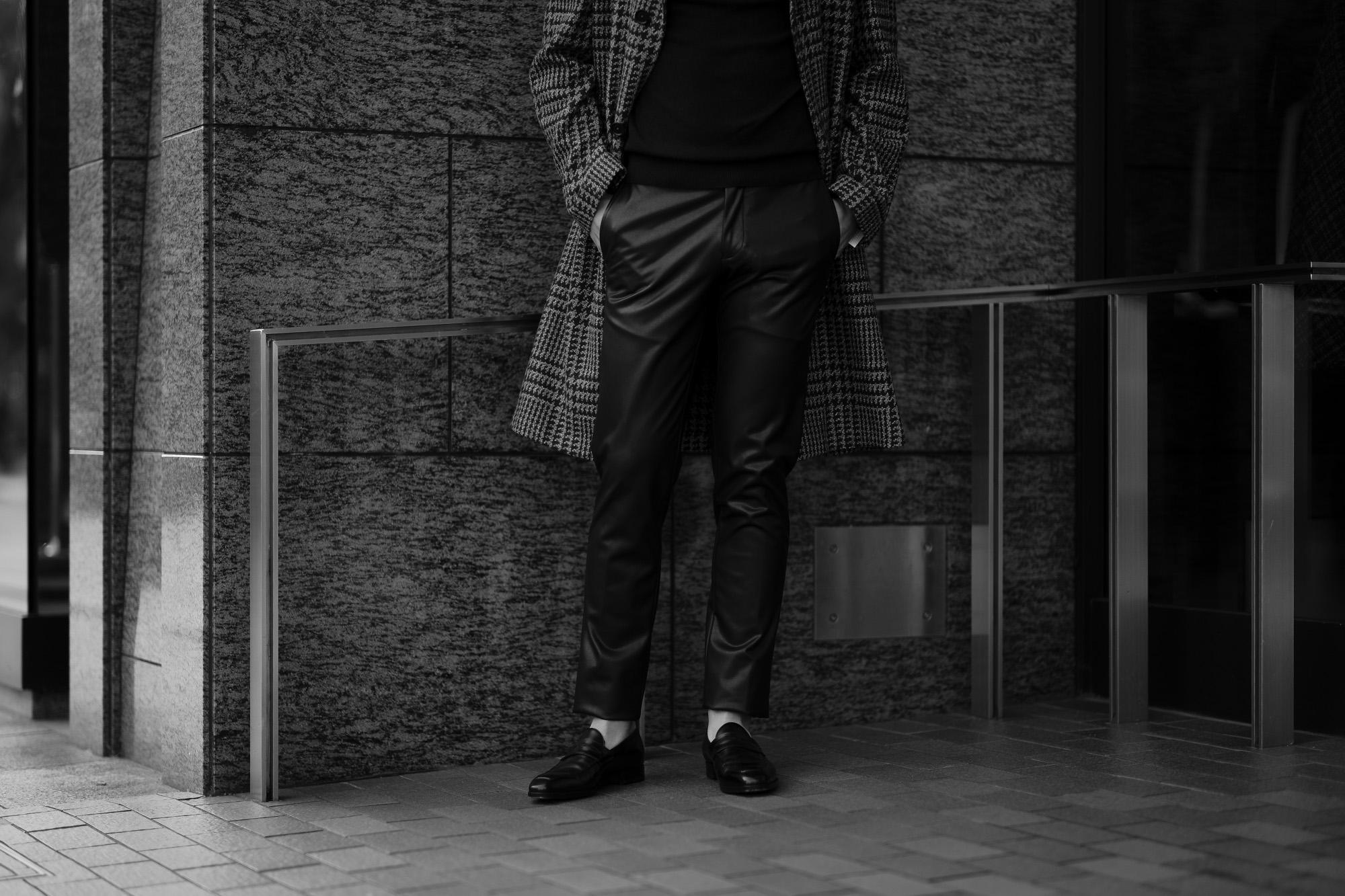 cuervo bopoha (クエルボ ヴァローナ) Sartoria Collection (サルトリア コレクション) Brad (ブラッド) 2WAY SUPER COMFORT FAKE LAMB LEATHER ストレッチ フェイクラムレザー パンツ BLACK (ブラック) MADE IN JAPAN (日本製) 2020 秋冬 Alto e Diritto altoediritto アルトエデリット 愛知 名古屋 レザーパンツ 革パン