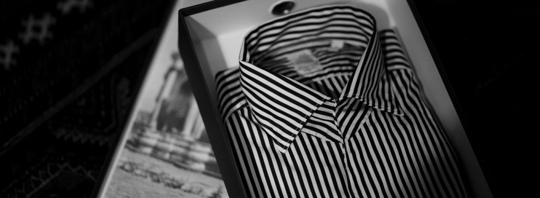 Finamore(フィナモレ) SEUL ITALIAN COLOR THOMAS MASON トーマスメイソン ワンピースカラー ストライプシャツ BLACK×WHITE(ブラック×ホワイト・07) made in italy (イタリア製)  2021春夏  【Alto e Diritto別注】【Special Model】【ご予約受付中】のイメージ