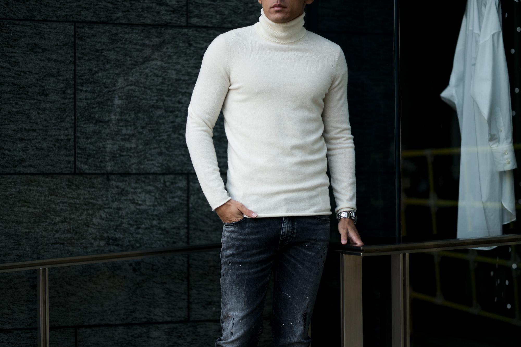 lucien pellat-fine (ルシアン ペラフィネ) Cashmere Roll Neck Sweater カシミア タートルネック セーター NIVEOUS (ホワイト) made in scotland (スコットランド製) 2020 秋冬新作 【入荷しました】【フリー分発売開始】愛知 名古屋 Alto e Diritto altoediritto アルトエデリット