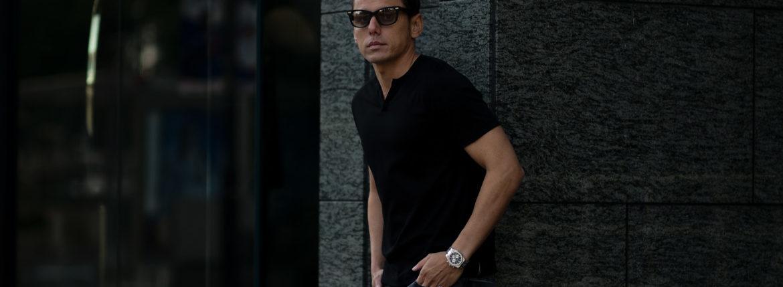 nomiamo (ノミアモ) SUPIMA 80/1 Key Neck T-shirt スーピマコットン キーネック Tシャツ BLACK (ブラック) 2021 春夏 【Alto e Diritto別注】【Special限定モデル】【ご予約受付中】のイメージ