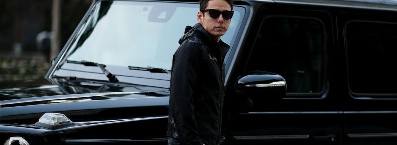 ALTACRUNA (アルタクルーナ) Camouflage Leather Hoodie Jacket (カモフラージュ レザー フーディー ジャケット) Lamb Leather ラムレザー × ナイロン フーディー ジャケット NERO (ブラック・0490) Made in italy (イタリア製) 2021 春夏新作 【入荷しました】【フリー分発売開始】のイメージ