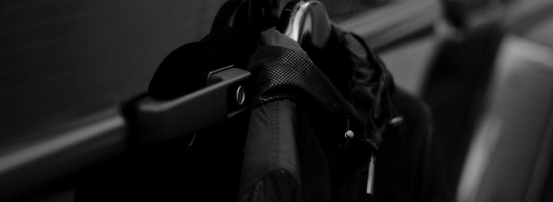 ALTACRUNA (アルタクルーナ) Hound's Tooth Leather Hoodie Jacket (ハウンドトゥース レザー フーディー ジャケット) Lamb Leather ラムレザー × ナイロン フーディー ジャケット NERO (ブラック・0010) Made in italy (イタリア製)  2021 春夏のイメージ