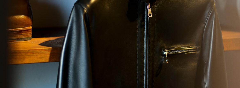 CINQUANTA(チンクアンタ) H502 STAND COLLAR RIDERS (スタンド カラー ジャケット) NAPPA LEATHER ナッパレザー シングル ライダース ジャケット BLACK SILVER (ブラックシルバー)  Made in italy (イタリア製) 2021 春夏新作のイメージ