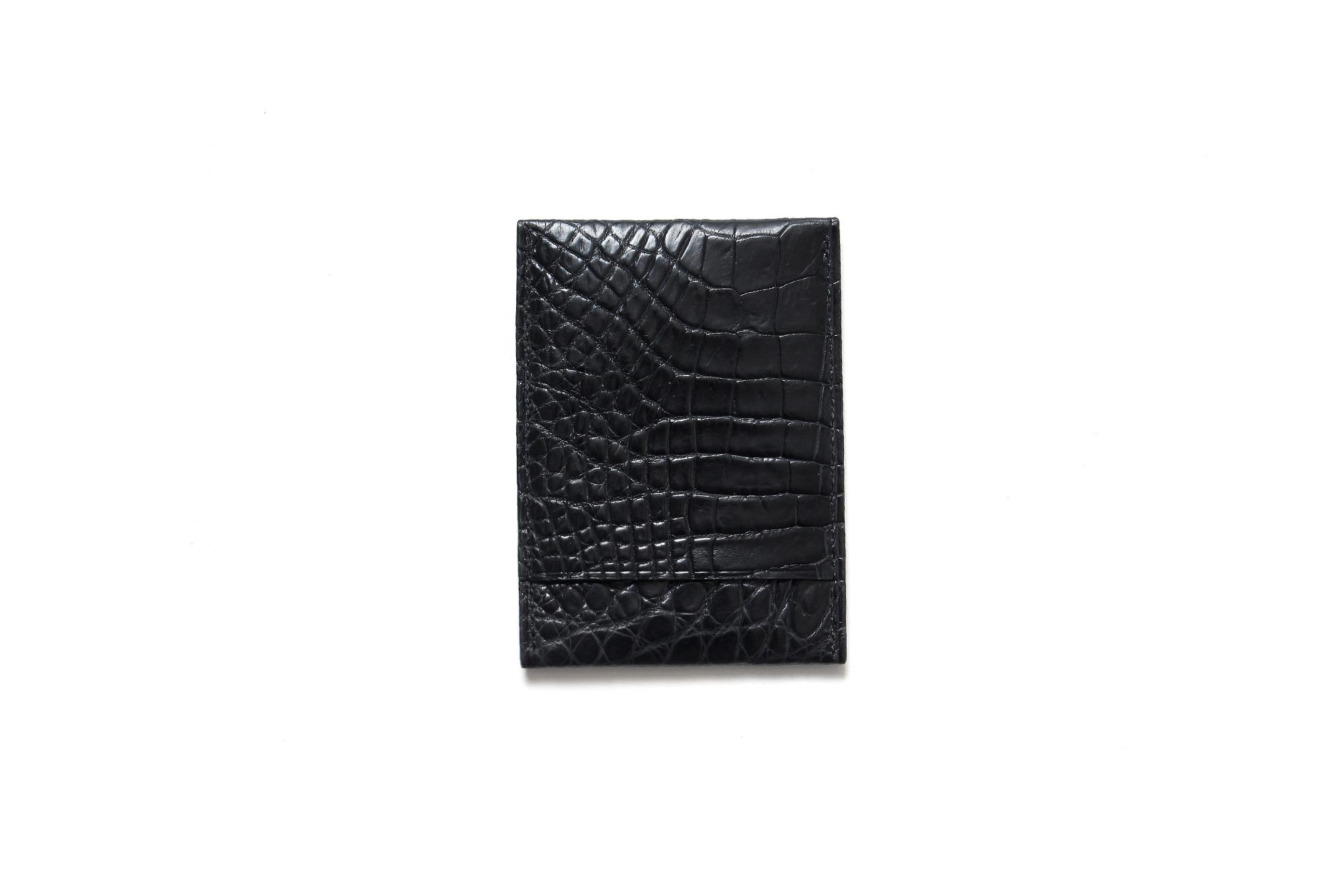 cuervo bopoha (クエルボ ヴァローナ) Thelonious (セロニアス) Crocodile Leather (クロコダイルレザー) カードケース BLACK (ブラック) Made in Japan (日本製) 2021 愛知 名古屋 Alto e Diritto altoediritto アルトエデリット エキゾチックレザー