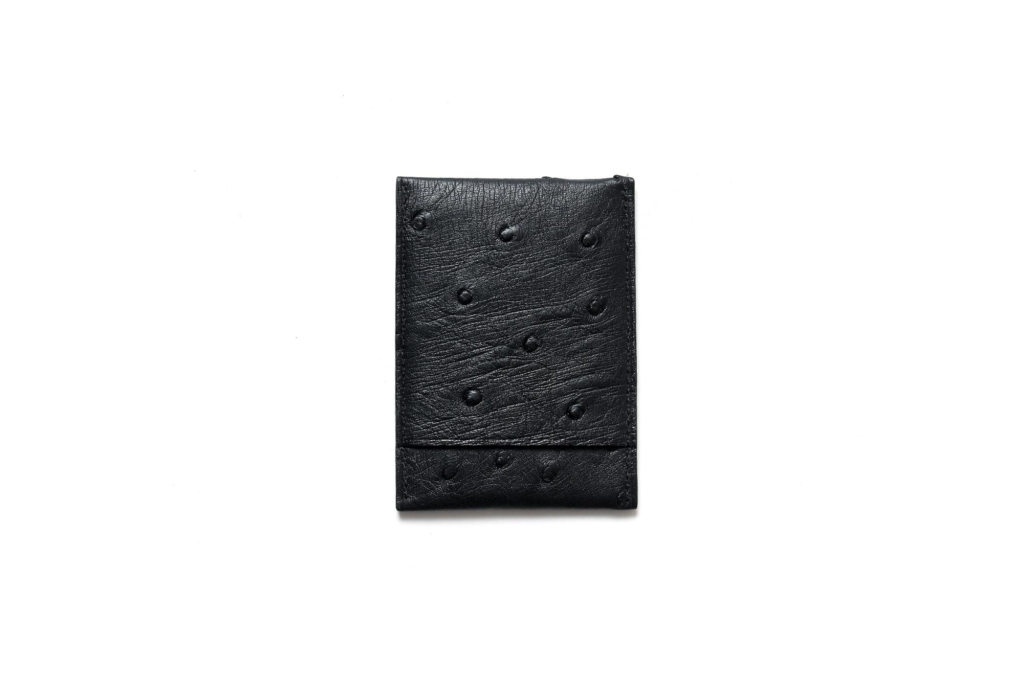 cuervo bopoha (クエルボ ヴァローナ) Thelonious (セロニアス) Ostrich Leather (オーストリッチレザー) カードケース BLACK (ブラック) Made in Japan (日本製) 2021 愛知 名古屋 Alto e Diritto altoediritto アルトエデリット エキゾチックレザー