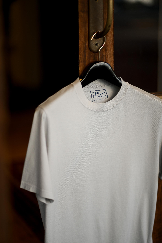 FEDELI(フェデリ) Crew Neck T-shirt (クルーネック Tシャツ) ギザコットン Tシャツ GRAY (グレー・55) made in italy (イタリア製) 2021 春夏【ご予約受付中】愛知 名古屋 altoediritto アルトエデリット スペシャルモデル TEE 半袖Tシャツ