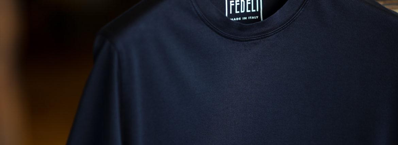 FEDELI(フェデリ) Crew Neck T-shirt (クルーネック Tシャツ) ギザコットン Tシャツ NAVY (ネイビー・626) made in italy (イタリア製) 2021 春夏【ご予約受付中】のイメージ
