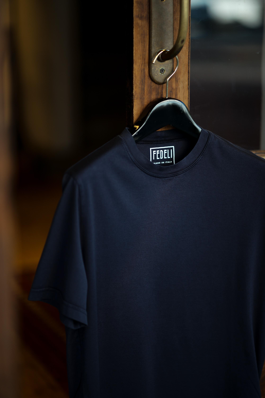 FEDELI(フェデリ) Crew Neck T-shirt (クルーネック Tシャツ) ギザコットン Tシャツ NAVY (ネイビー・626) made in italy (イタリア製) 2021 春夏【ご予約受付中】愛知 名古屋 altoediritto アルトエデリット スペシャルモデル TEE 半袖Tシャツ