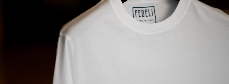 FEDELI(フェデリ) Crew Neck T-shirt (クルーネック Tシャツ) ギザコットン Tシャツ WHITE (ホワイト・41) made in italy (イタリア製) 2021 春夏【ご予約受付中】のイメージ
