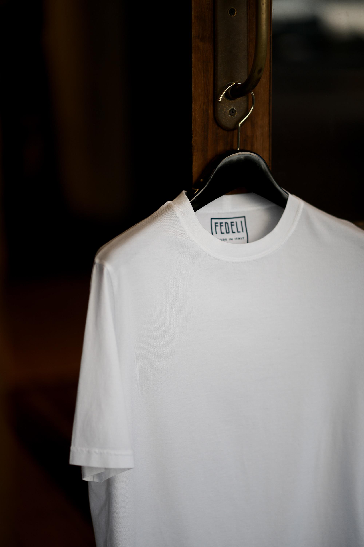 FEDELI(フェデリ) Crew Neck T-shirt (クルーネック Tシャツ) ギザコットン Tシャツ WHITE (ホワイト・41) made in italy (イタリア製) 2021 春夏【ご予約受付中】愛知 名古屋 altoediritto アルトエデリット スペシャルモデル TEE 半袖Tシャツ