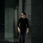 FEDELI (フェデリ) Long Sleeve Crew Neck T-shirt (ロングスリーブ Tシャツ) ギザコットン ロングスリーブ Tシャツ BLACK (ブラック・36) made in italy (イタリア製) 2021 春夏 【ご予約受付中】のイメージ