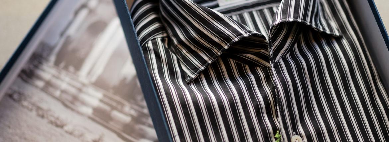 Finamore (フィナモレ) SEUL ITALIAN COLOR STRIPE SHIRTS (イタリアンカラーストライプシャツ) THOMAS MASON COTTON POPLIN RANDOM STRIPE (トーマスメイソン コットンポプリン ランダムストライプ) ワンピースカラー シャツ BLACK×WHITE (ブラック×ホワイト・01) made in italy (イタリア製) 2021 春夏【Alto e Diritto別注】【Special Model】【ご予約受付中】のイメージ