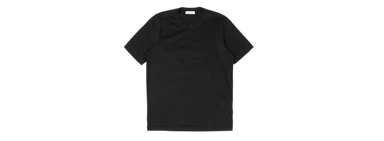 Gran Sasso (グランサッソ) Crew Neck T-shirt (クルーネック Tシャツ) Mercerised Cotton マーセライズドコットン Tシャツ BLACK (ブラック・099) made in italy (イタリア製) 2021春夏新作のイメージ