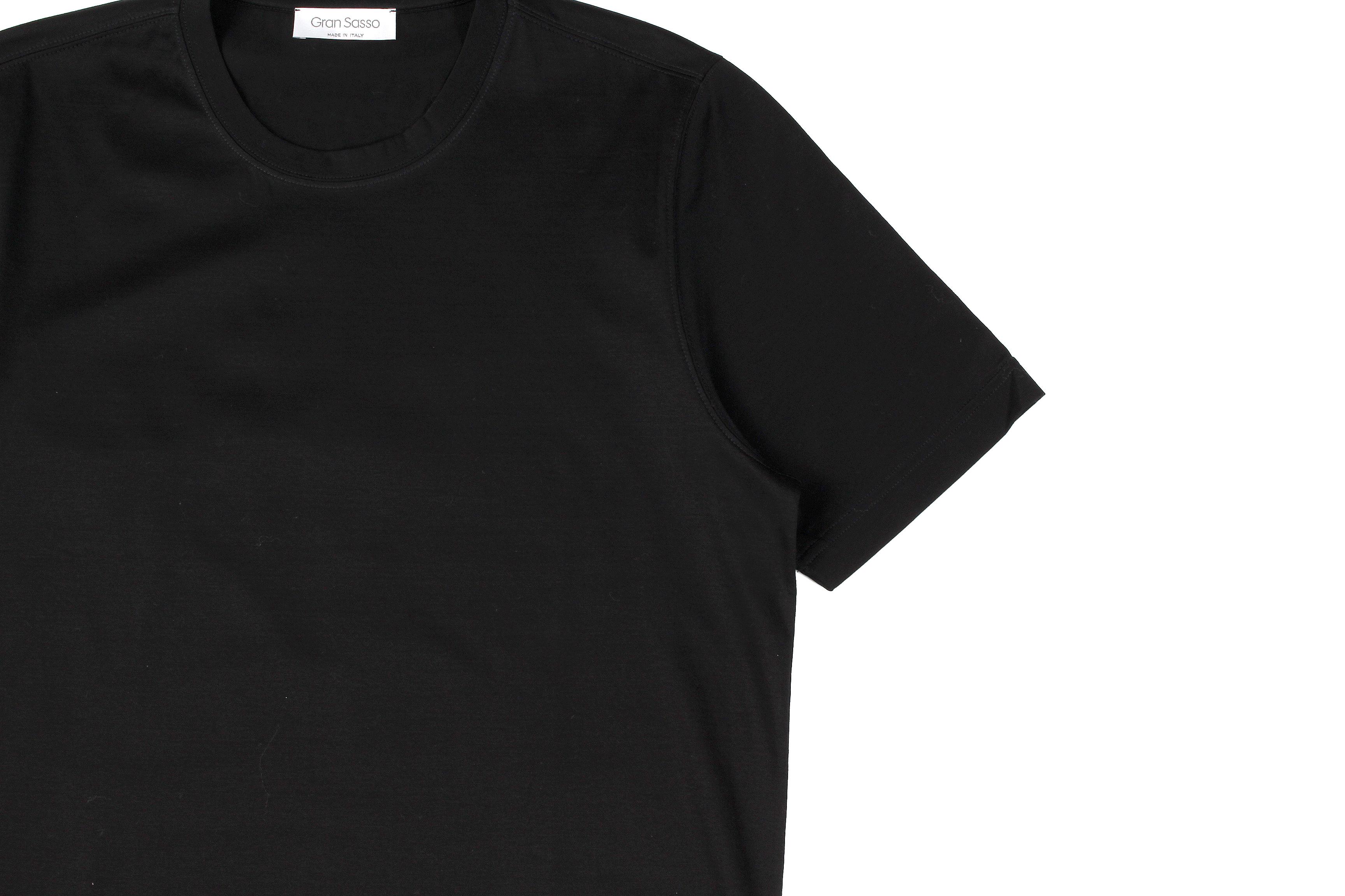 Gran Sasso (グランサッソ) Crew Neck T-shirt (クルーネック Tシャツ) Mercerised Cotton マーセライズドコットン Tシャツ BLACK (ブラック・099) made in italy (イタリア製) 2021春夏新作 gransasso 愛知 名古屋 Alto e Diritto altoediritto アルトエデリット TEE