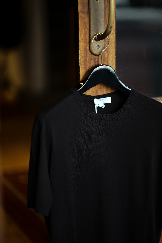 Gran Sasso (グランサッソ) Silk Knit T-shirt (シルクニット Tシャツ) SETA (シルク 100%) ショートスリーブ シルク ニット Tシャツ BLACK (ブラック・099) made in italy (イタリア製) 2021 春夏新作 愛知 名古屋 Alto e Diritto altoediritto アルトエデリット