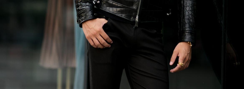 ISAMU KATAYAMA BACKLASH (イサムカタヤマ バックラッシュ) French Deerskin Stretch Leather Pants (フレンチ ディアスキン ストレッチ パンツ) ディアスキン ストレッチ レザー スキニーパンツ BLACK (ブラック) MADE IN JAPAN (日本製) 2021 【Special Model】【Alto e Diritto別注】【5本限定】のイメージ