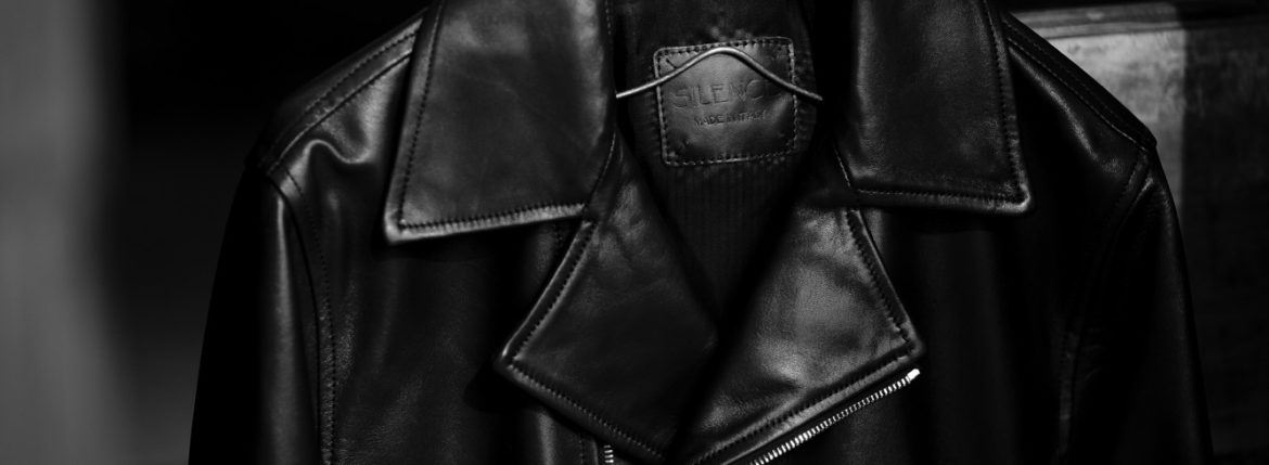 SILENCE (サイレンス) Double Riders Jacket (ダブル ライダース ジャケット) Goatskin Leather (ゴートスキンレザー) GOLD ZIP (ゴールドジップ) レザー ライダース ジャケット NERO GOLD ZIP (ブラックゴールドジップ) Made in italy