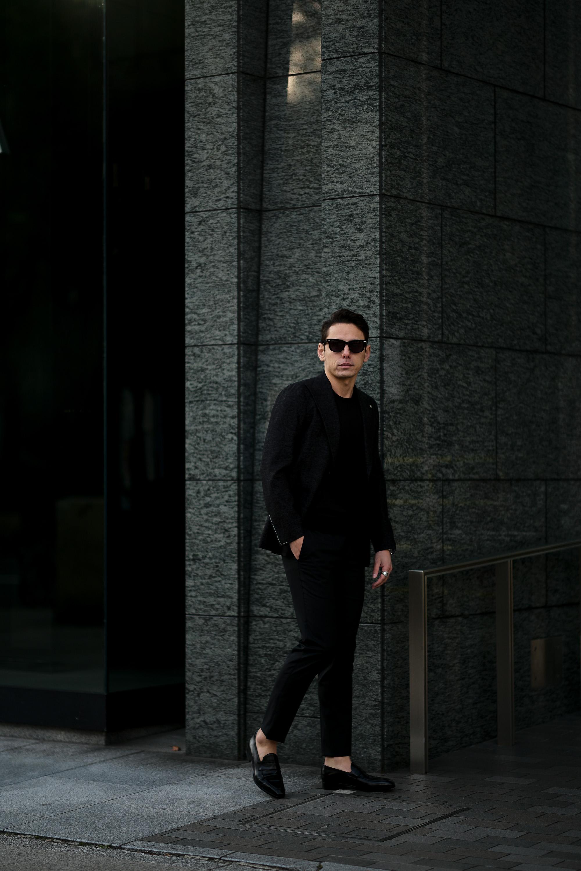 TAGLIATORE (タリアトーレ) PINO LERARIO (ピーノ レラリオ) Stretch Summer Wool Jacket サマーウール ストレッチ シングル ピークドラペル ジャケット BLACK (ブラック) Made in italy (イタリア製) 2021 春夏 【ご予約受付中】 愛知 名古屋 Alto e Diritto altoediritto アルトエデリット