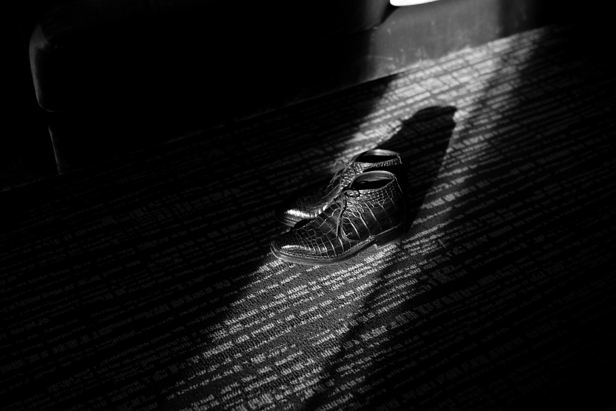 ENZO BONAFE (エンツォボナフェ) ART.3722 Crocodile Chukka boots クロコダイル Mat Crocodile Leather マット クロコダイル エキゾチックレザー チャッカブーツ NERO (ブラック) made in italy (イタリア製) 2021 秋冬 愛知 名古屋 Alto e Diritto altoediritto アルトエデリット 入荷しました