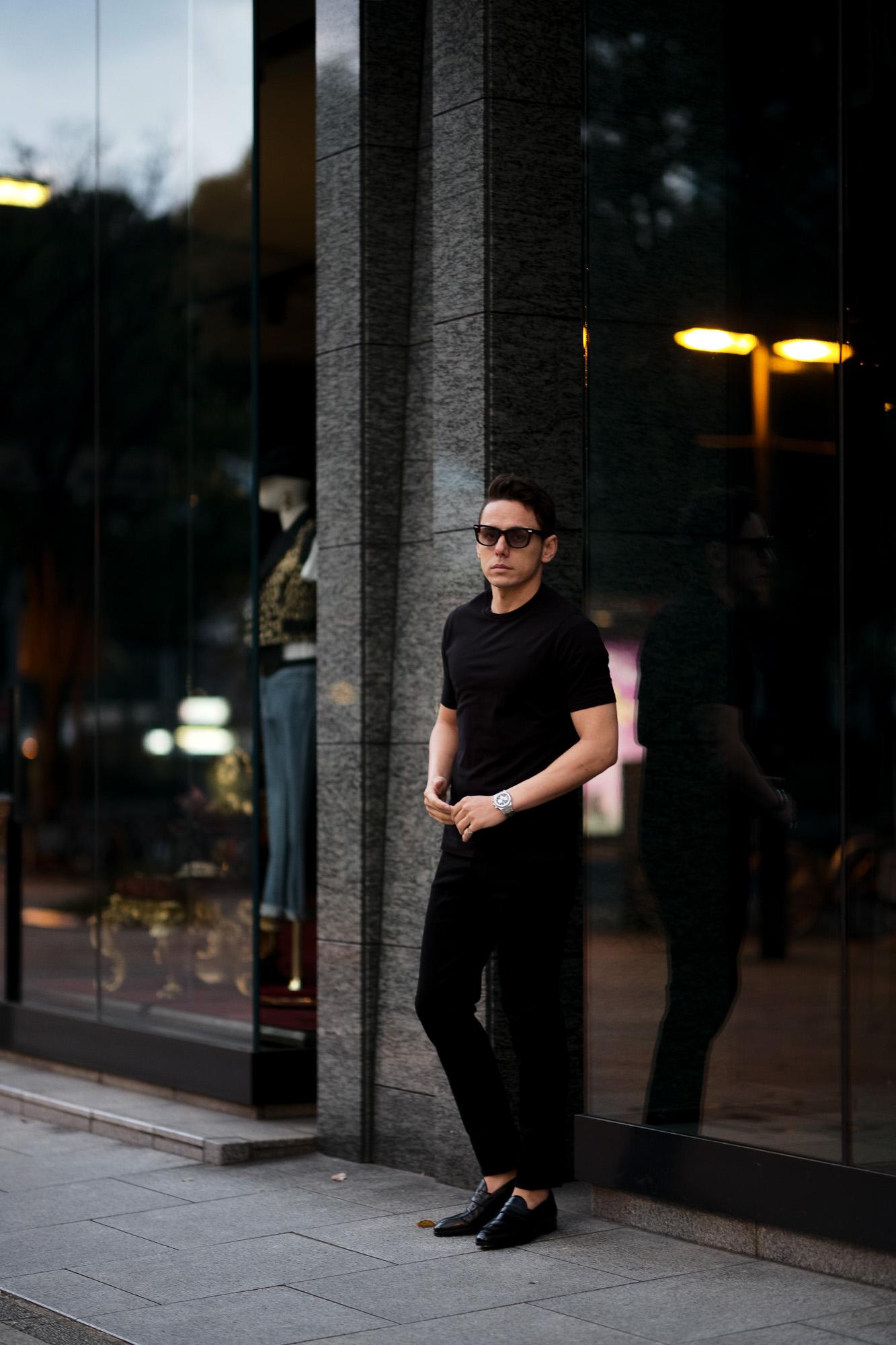 FEDELI(フェデーリ) Crew Neck T-shirt (クルーネック Tシャツ) ギザコットン Tシャツ BLACK (ブラック・36) made in italy (イタリア製) 2021 春夏 【ご予約開始】愛知 名古屋 altoediritto アルトエデリット TEE
