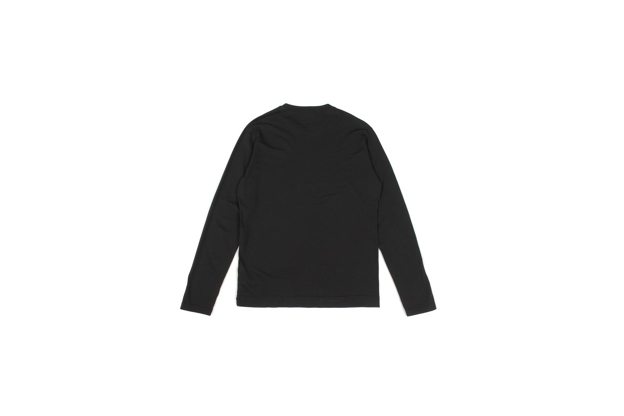 FEDELI (フェデリ) Long Sleeve Crew Neck T-shirt (ロングスリーブ Tシャツ) ギザコットン ロングスリーブ Tシャツ BLACK (ブラック・36) made in italy (イタリア製) 2021 春夏 【ご予約受付中】愛知 名古屋 Alto e Diritto altoediritto アルトエデリット ロンT ロングTシャツ