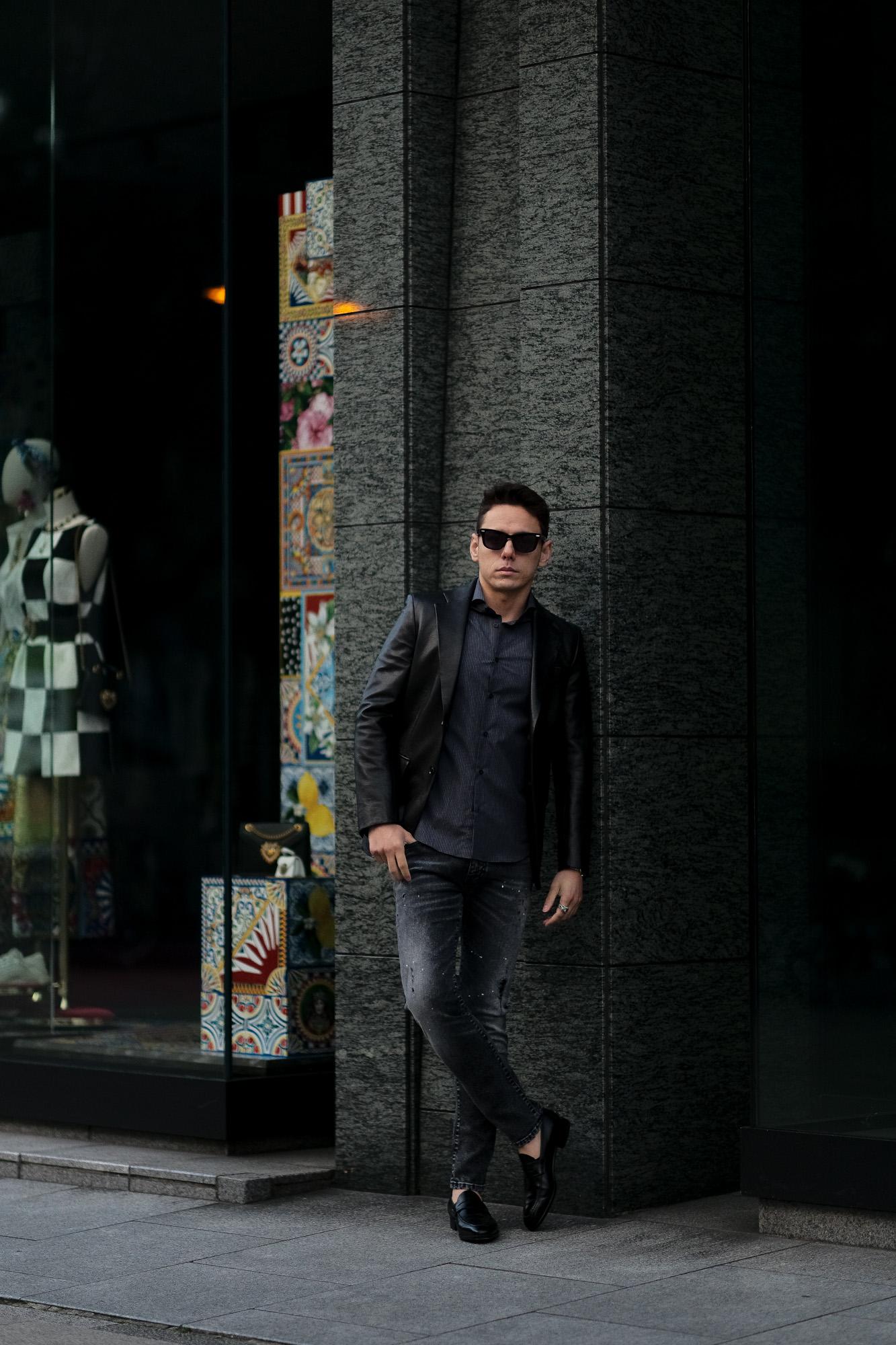 cuervo bopoha(クエルボ ヴァローナ) Satisfaction Leather Collection (サティスファクション レザー コレクション) LEON (レオン) BUFFALO LEATHER (バッファロー レザー) シングル テーラード ジャケット BLACK (ブラック) MADE IN JAPAN (日本製) 2021 春夏新作 愛知 名古屋 altoediritto アルトエデリット