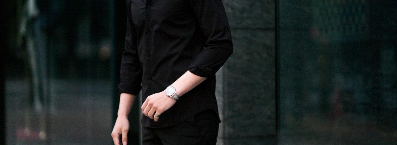 cuervo bopoha(クエルボ ヴァローナ) Sartoria Collection (サルトリア コレクション) Riot (ライオット) STRETCH COTTON ストレッチコットン シャツ BLACK(ブラック) MADE IN ITALY (イタリア製) 2021 春夏新作のイメージ