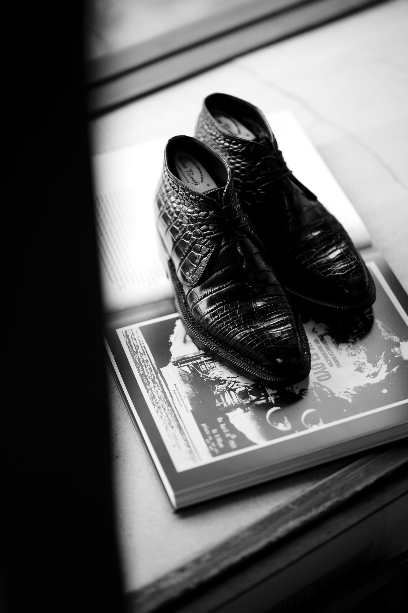 ENZO BONAFE (エンツォボナフェ) ART.3722 Crocodile Chukka boots クロコダイル Mat Crocodile Leather マット クロコダイル エキゾチックレザー チャッカブーツ NERO (ブラック) made in italy (イタリア製) 2021 秋冬 愛知 名古屋 Alto e Diritto altoediritto アルトエデリット ソール交換 トライアンフ ハーフラバーソール 交換