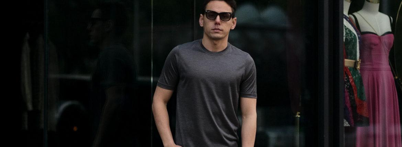 Gran Sasso (グランサッソ) Silk T-shirt (シルク Tシャツ) SETA (シルク 100%) ショートスリーブ シルク Tシャツ GREY (グレー・264) made in italy (イタリア製) 2021 春夏新作 【入荷しました】【フリー分発売開始】のイメージ