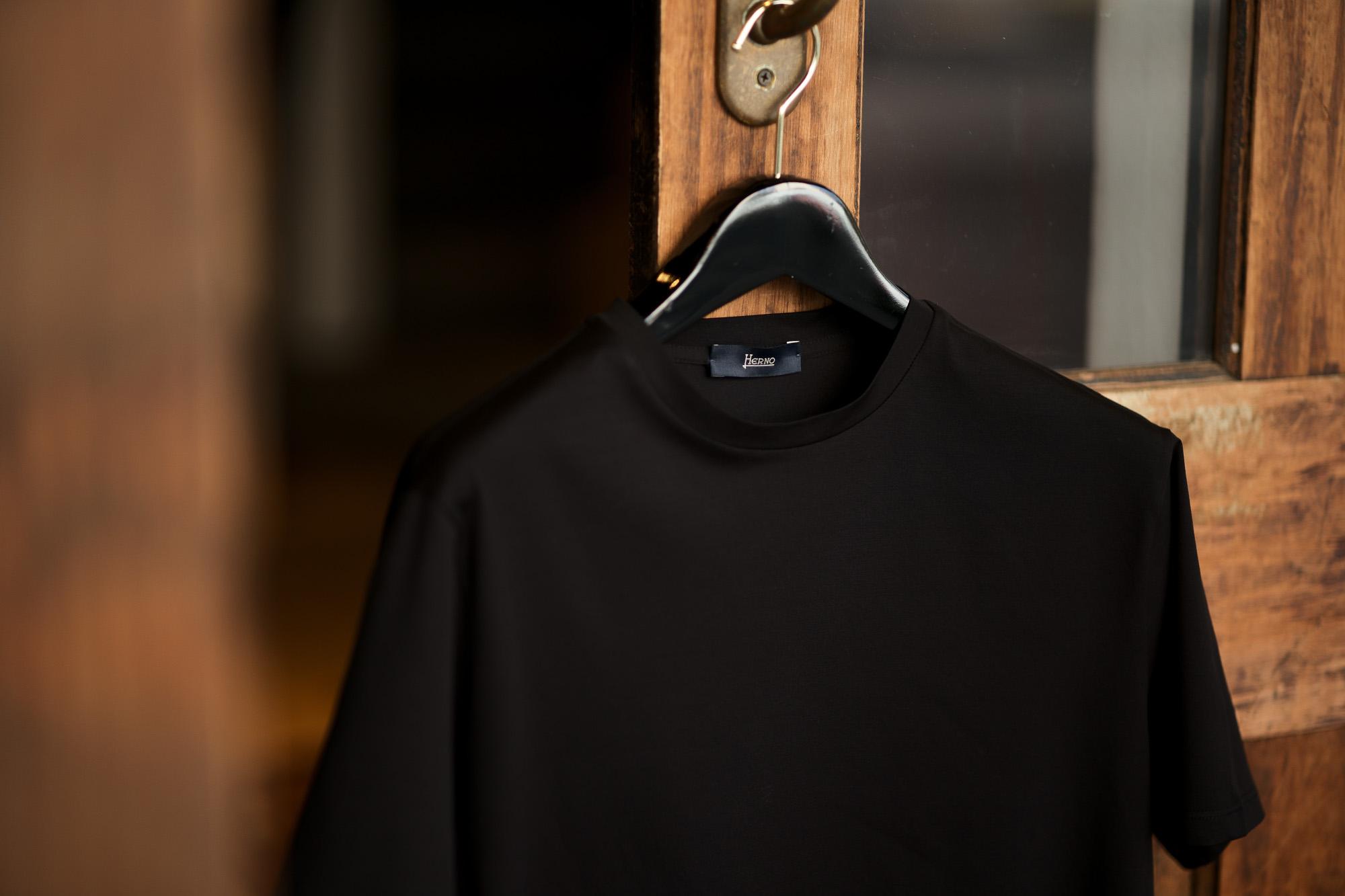 HERNO (ヘルノ) Cotton Stretch Crew Neck T-shirt (コットン ストレッチ クルーネック Tシャツ) クルーネック Tシャツ BLACK (ブラック・9300) 2021 春夏新作 Alto e Diritto altoediritto アルトエデリット Tee