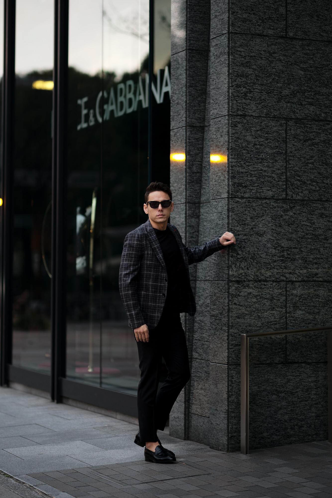ISAIA (イザイア) POMPEI (ポンペイ) ウールシルクリネン グレンチェック サマー ジャケット BLACK (ブラック・990) Made in italy (イタリア製) 2021 春夏新作 愛知 名古屋 Alto e Diritto altoediritto アルトエデリット