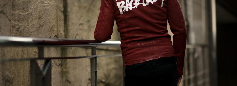 ISAMU KATAYAMA BACKLASH (イサムカタヤマ バックラッシュ) JAPAN CALF DOUBLE RIDERS No.1927-01 (ジャパン カーフ ダブルライダース) レザー ダブルライダース ジャケット RED(レッド) MADE IN JAPAN (日本製) 2021 春夏 【Special Model】【Alto e Diritto別注】【カタヤマ氏直筆スペシャルバックプリント】のイメージ