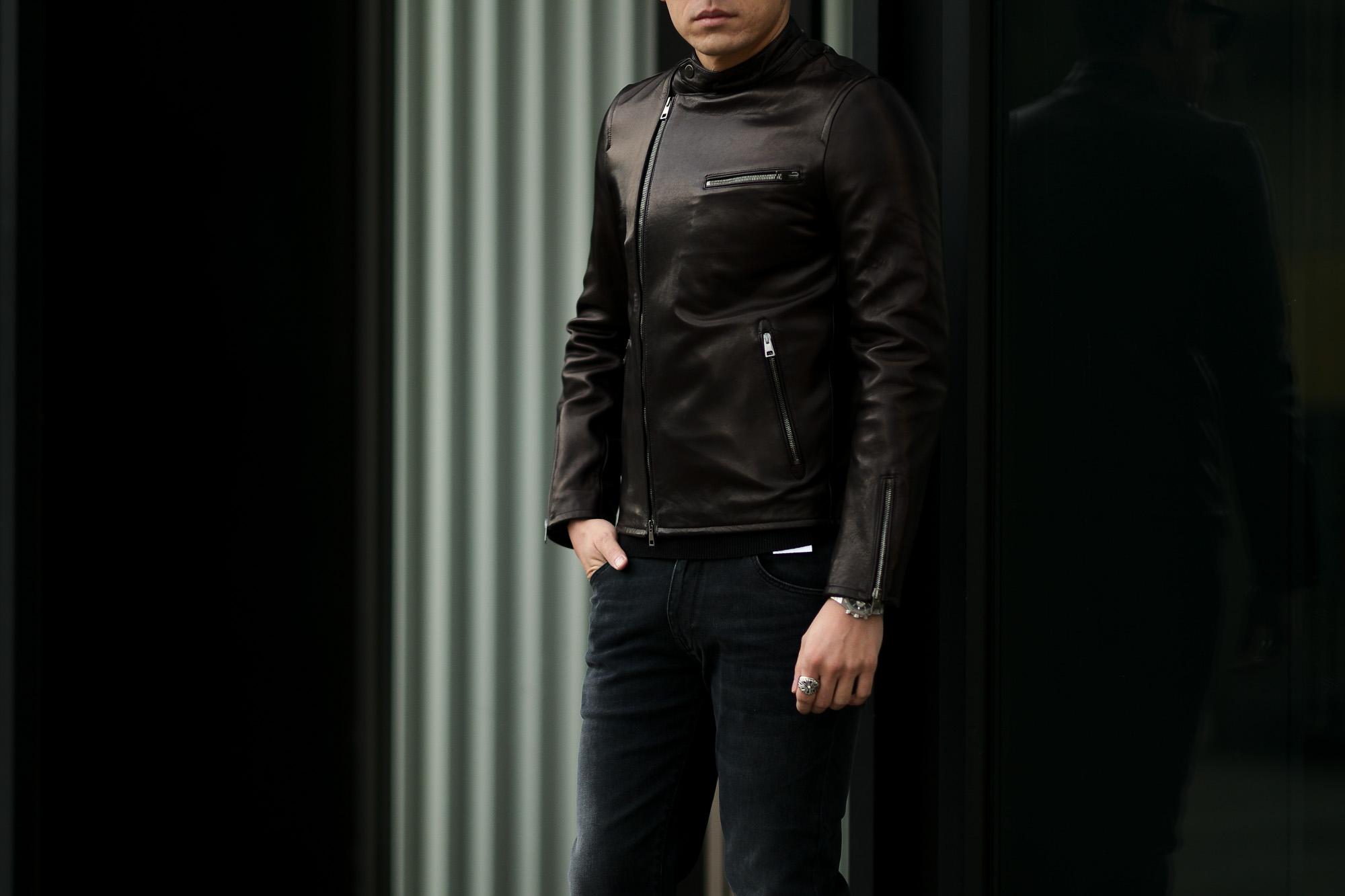 MOLEC (モレック) Semi Double Leather Jacket (セミダブル レザージャケット) PLONGE Lambskin プロンジェラムレザー セミダブル ライダース ジャケット NERO (ブラック) Made in italy (イタリア製) 2021 【ご予約受付中】愛知 名古屋 Alto e Diritto altoediritto アルトエデリット ダブルライダース レザージャケット