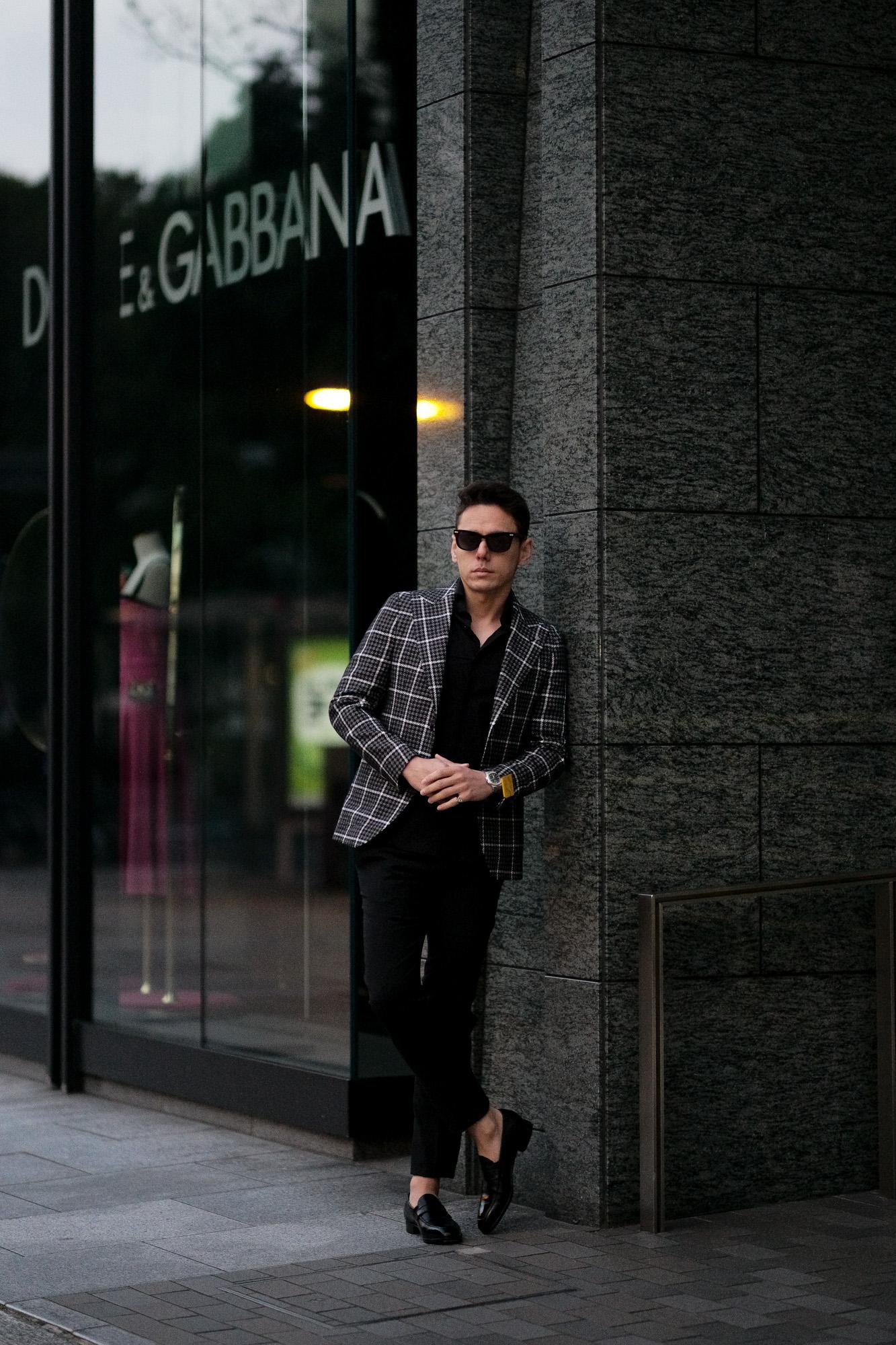 TAGLIATORE (タリアトーレ) PINO LERARIO (ピーノ レラリオ) Linen Cotton Summer Tweed Jacket リネンコットン サマーツイード チェック シングル ピークドラペル ジャケット BLACK × WHITE (ブラック×ホワイト) Made in italy (イタリア製) 2021 春夏新作 【入荷しました】【フリー分発売開始】愛知 名古屋 Alto e Diritto altoediritto アルトエデリット