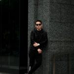 ALTACRUNA (アルタクルーナ) Hound's Tooth Leather Hoodie Jacket (ハウンドトゥース レザー フーディー ジャケット) Lamb Leather ラムレザー × ナイロン フーディー ジャケット NERO (ブラック・0010) Made in italy (イタリア製)  2021 春夏新作のイメージ