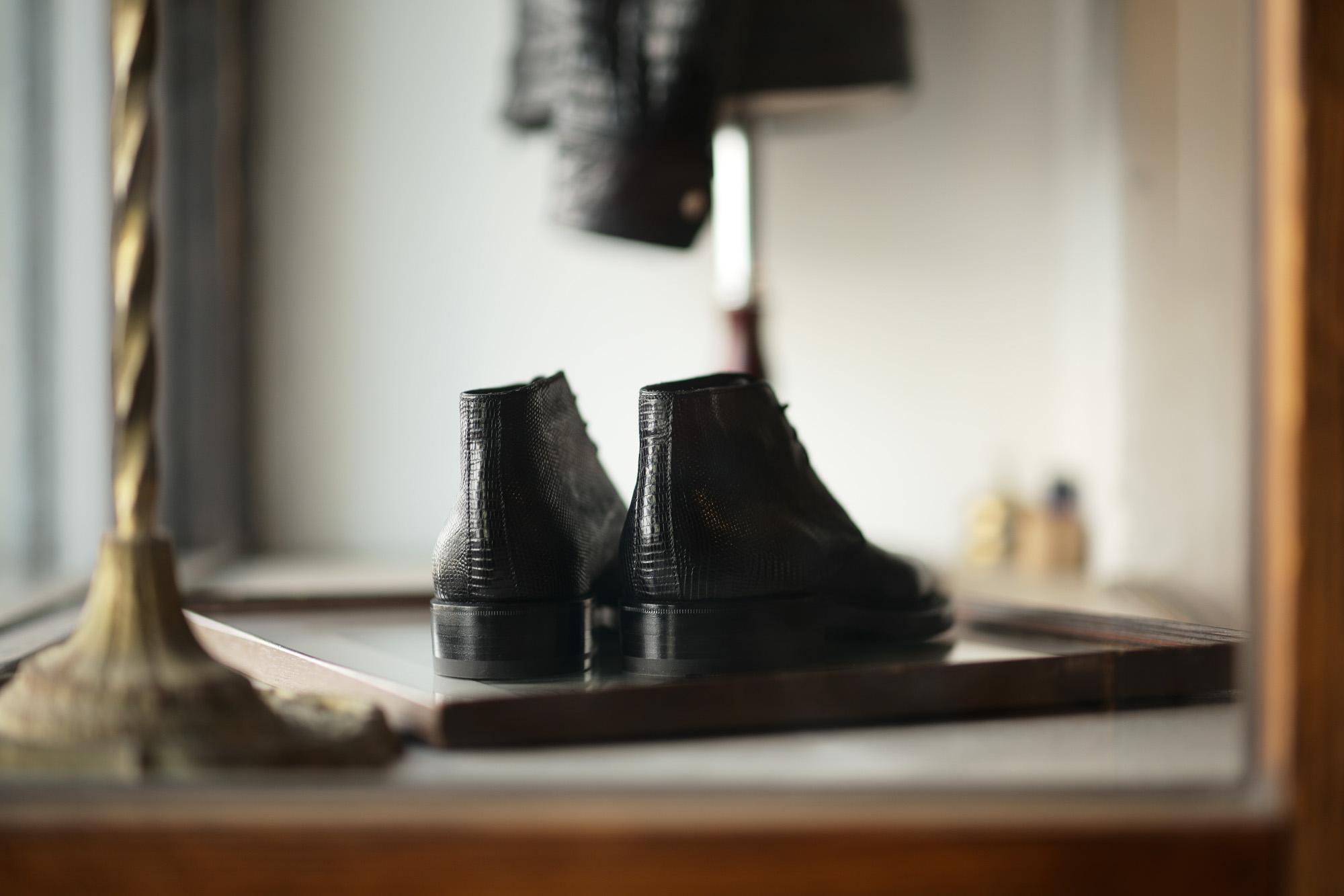 ENZO BONAFE (エンツォボナフェ) ART.3722 Chukka boots Lizard Leather リザード エキゾチックレザー チャッカブーツ NERO (ブラック) made in italy (イタリア製) 2021 【Special Model】愛知 名古屋 Alto e Diritto altoediritto アルトエデリット