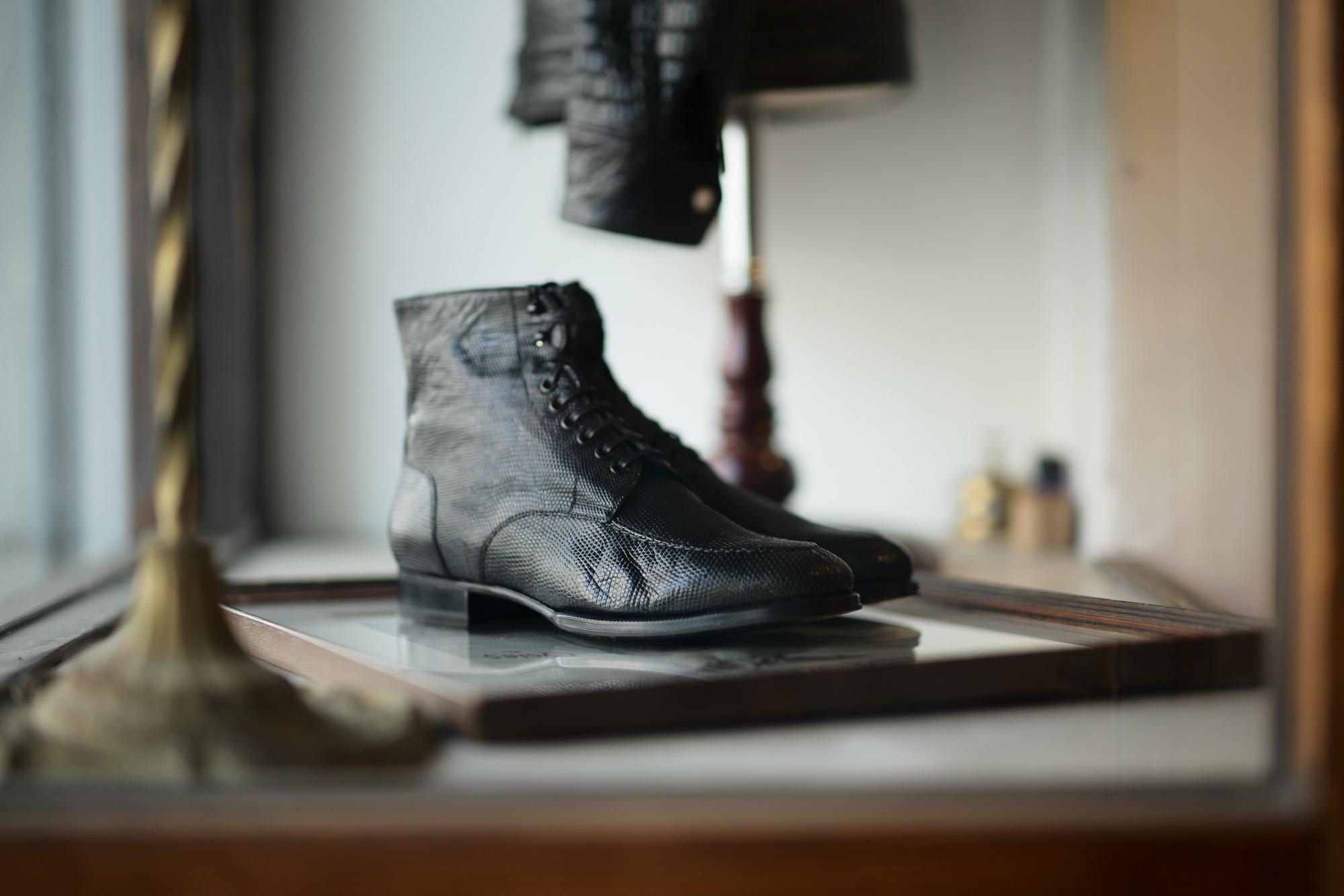 ENZO BONAFE(エンツォボナフェ) ART.4009 MOD Tanker Boots Lizard Leather リザードレザー タンカーブーツ NERO(ブラック) 2021春夏新作 【Special Model】愛知 名古屋 Alto e Diritto altoediritto アルトエデリット レザーブーツ