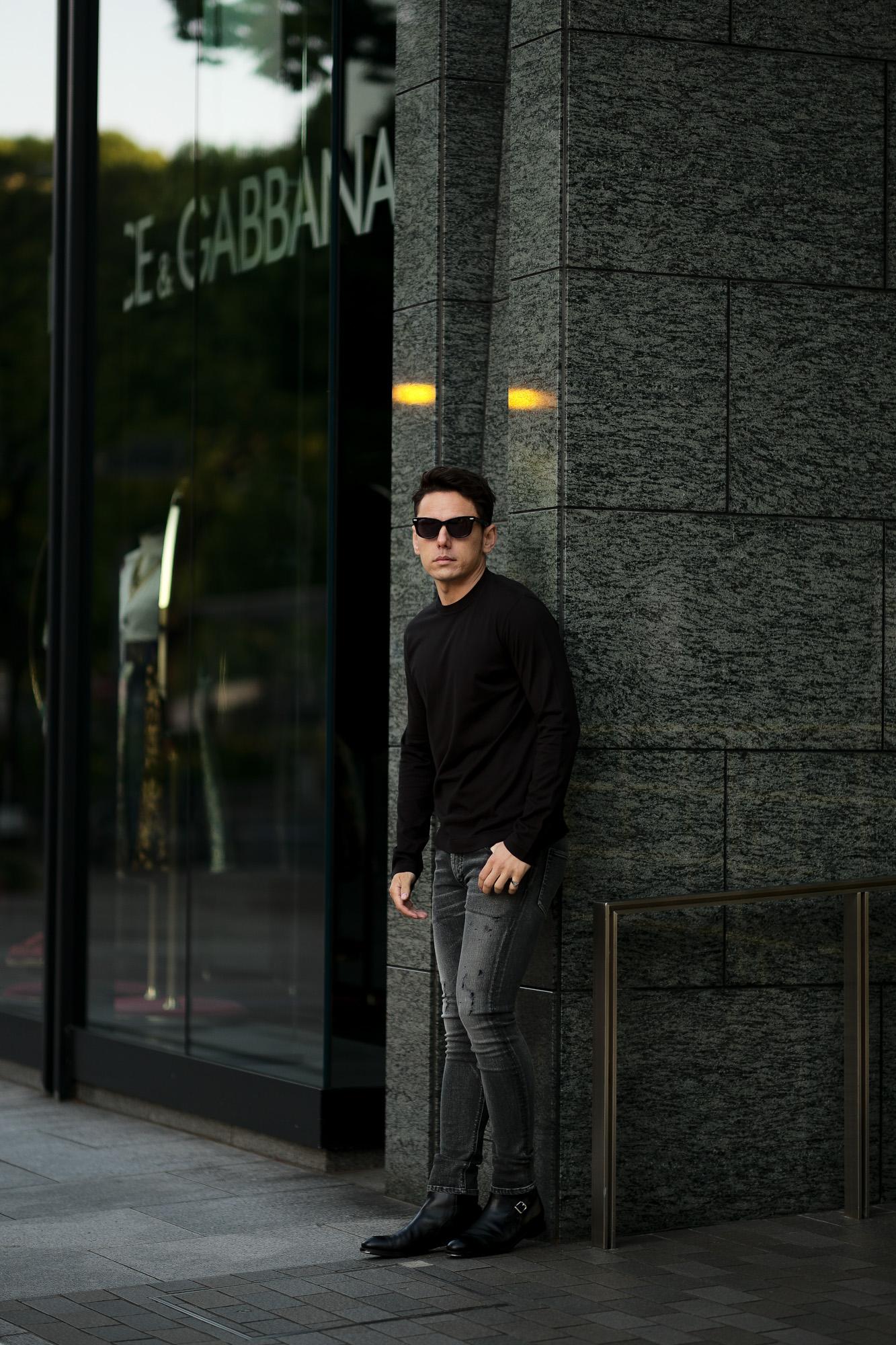 FEDELI (フェデリ) Long Sleeve Crew Neck T-shirt (ロングスリーブ Tシャツ) ギザコットン ロングスリーブ Tシャツ BLACK (ブラック・36) made in italy (イタリア製) 2021春夏新作 愛知 名古屋 Alto e Diritto altoediritto アルトエデリット ロンT